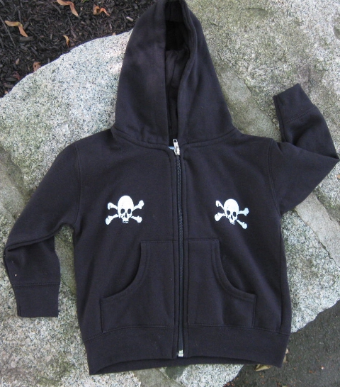 Little White Skully design~FRONT~<br>from Haverhill, Massachusetts<br>(Design is printed on front & back)